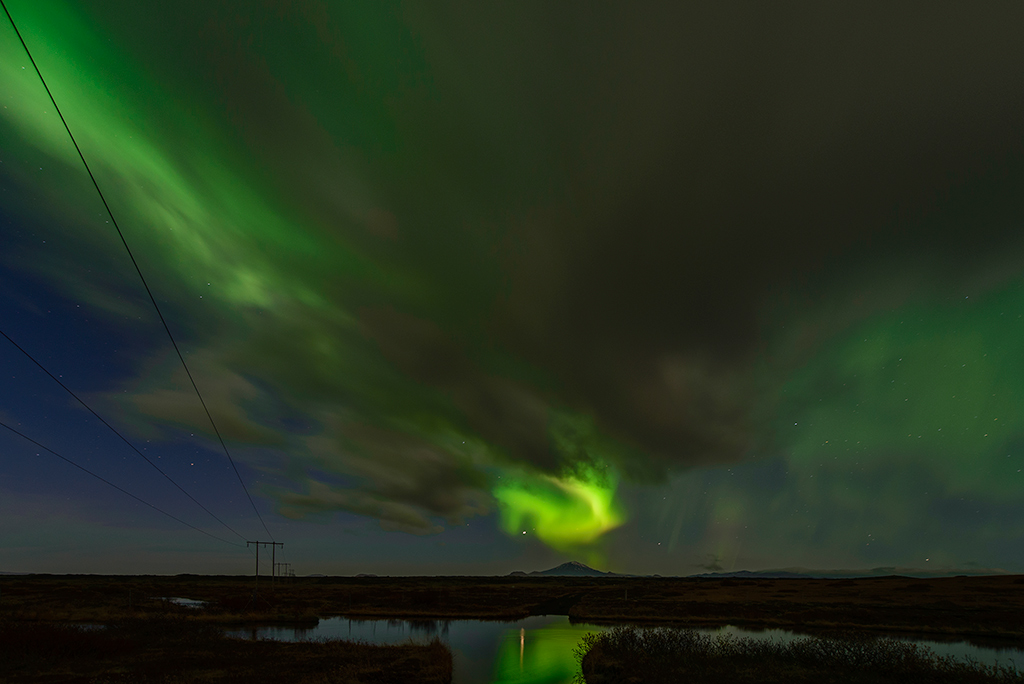 Hekla Vulkan Polarlicht Aurora borealis