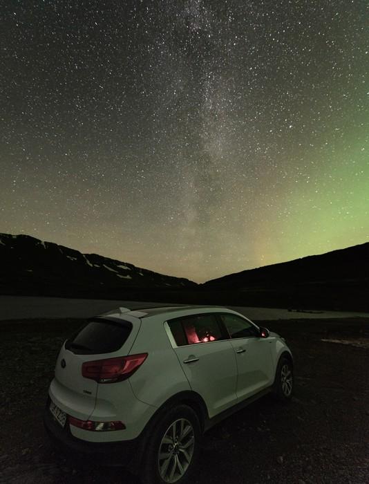 Mjóafjarðarheiði Polarlicht Milchstraße