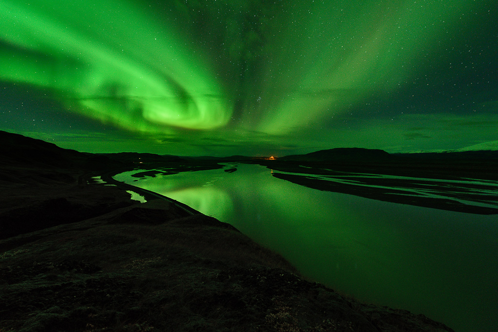 Þjórsá Thjorsa Polarlicht Aurora Borealis