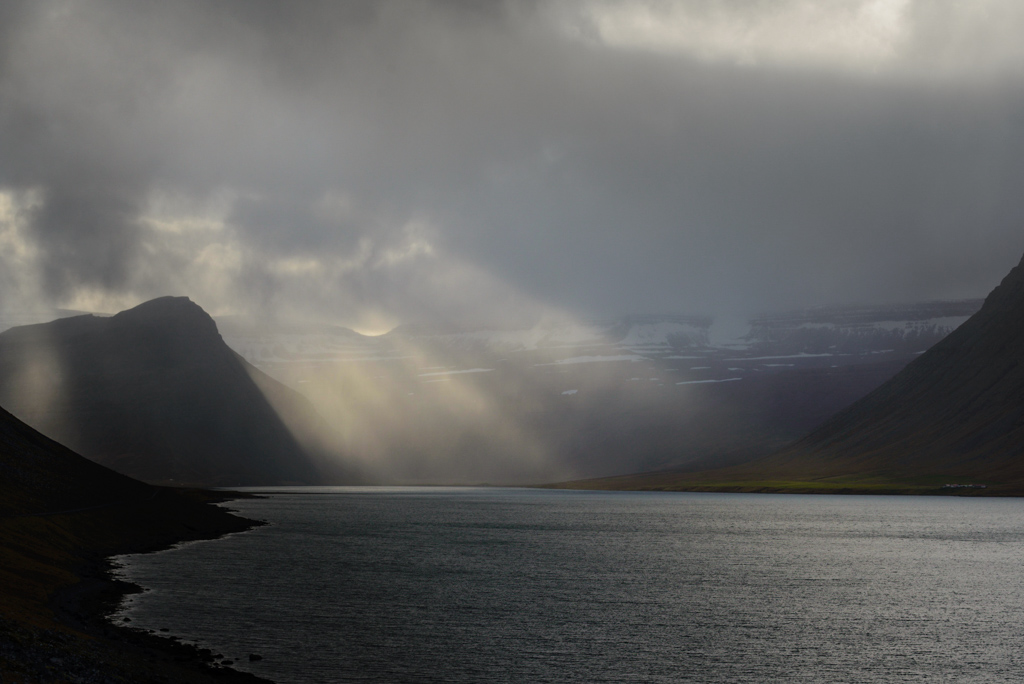 Skötufjörður Island Sonnenstrahlen